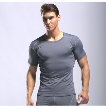 4425c7e8ca2 Men s Running Shirts Grey Workout Tops Quick Dry Training Fitness Gym Tees   20181025-3