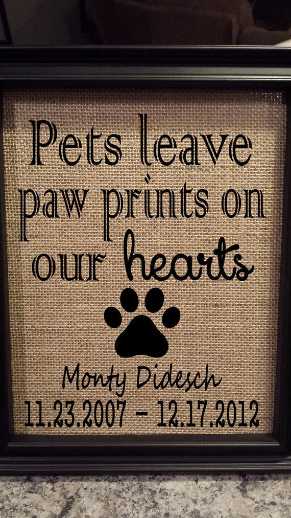 Framed Burlap Print  Pet Memorial  Pets Leave by DideschDelights, $25.00