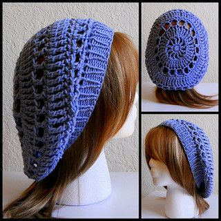 Crochet lace hat with knit band. Would be easy to ...