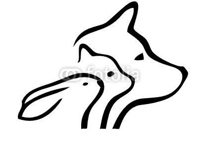 Fototapeta pies kot i królik logo - zwierzę • PIXERS.pl