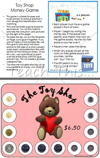 Toy Shop Money Game - Fun Math Games For School - dominoes, bingo, matching, board games and more :: Teacher Resources and Classroom Games :: Teach This