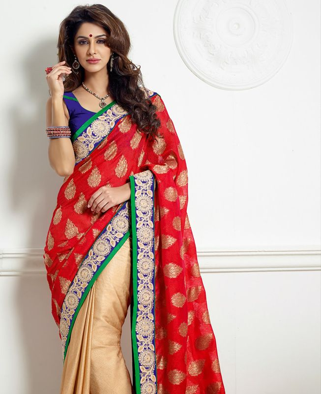 Georgette Party Wear Saree with blouse color hot Red! Shop now @ http://www.shadesandyou.com/product-category/regular-sarees/  #PartyWearSarees #WeddingSaree #IndianEthnicWear #PartyWearSuits