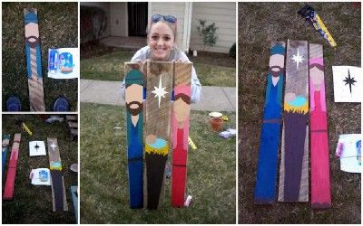 A beautiful nativity scene made ​​with only three pallet planks 6
