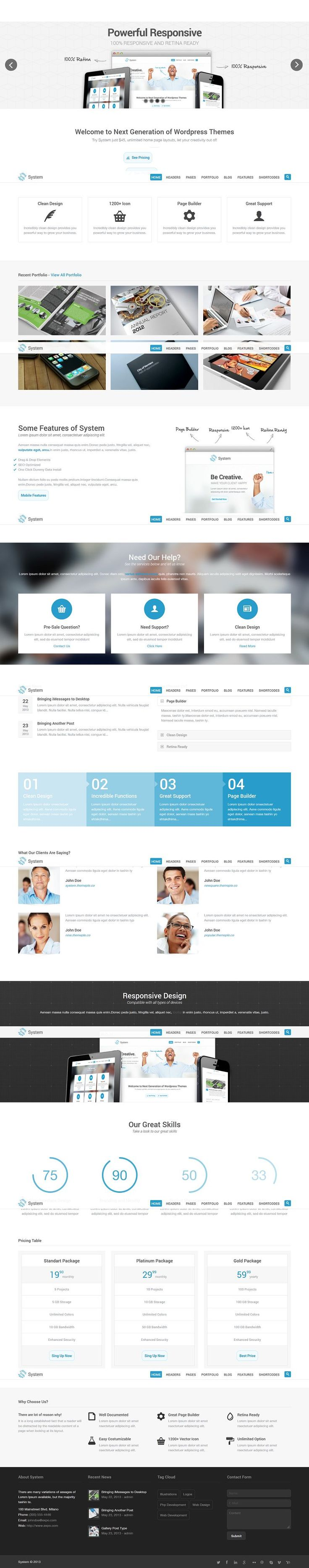 System is a responsive WordPress Theme (try resizing your browser), suited for business websites and users who want to showcase their work o...