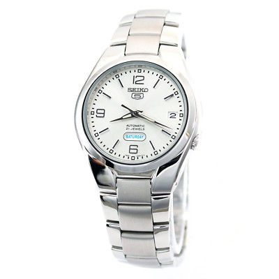 Seiko 5 Automatic Mens Analog Watch Business Silver Band SNK619K1