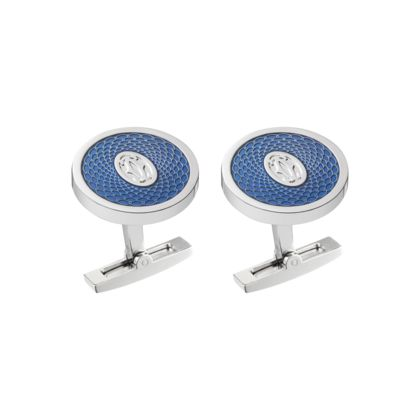 Cartier CUFFLINKS WITH ROSE DECOR AND DOUBLE C LOGO Sterling silver, palladium finish, blue lacquer. $630.