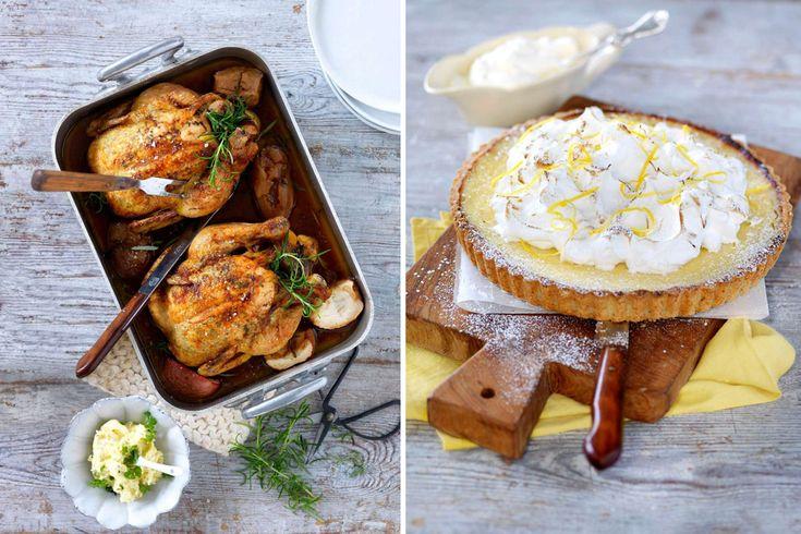 Inget smakar som helstekt kyckling, vår görs extra saftig av örtsmör. Ljuvlig citronpaj blir final