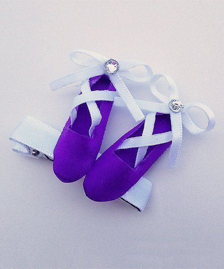 Simply2Cute Purple & White Ballet Shoes Clip | zulily
