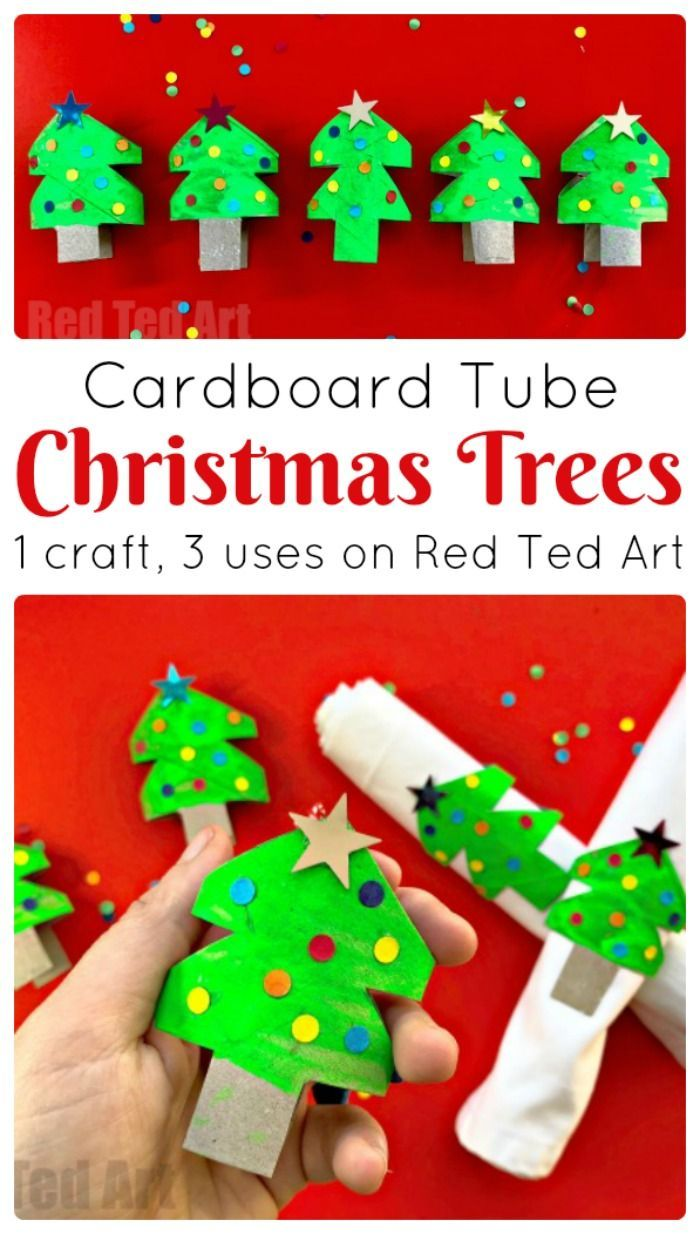 Toilet Paper Christmas Tree Craft - Turn this CUTE Christmas Tree Craft into Christmas Napkin Rings, Christmas Tree Ornaments or as adorable Christmas Tree Doll's house accessory/ play prompts. #Toiletpaperrolls #tprolls #christmastree #napkinrings #christmas #preschool
