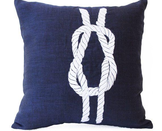 Linen Pillows- Navy Pillow Covers- Nautical Throw Pillow- Knot Pillow- Navy Blue Pillows- Beach pillows- 16x16- Gift Pillows- Chair Pillows