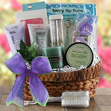 This spa basket can be a gift for the bride, or give one to each guest to be used at your spa party.