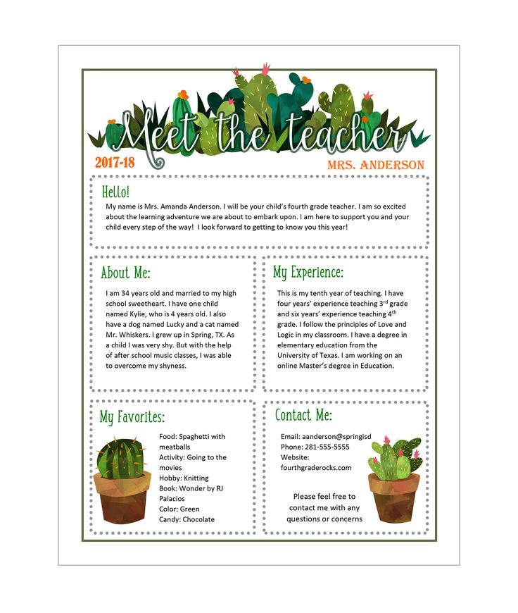 The Meet the Teacher cactus themed newsletter template (.doc) is editable and easy to use. This template is great for the hipster teacher or the teacher who loves cacti! The template is included with text boxes and blank (as shown). Text and text boxes may be edited, moved, added or deleted. The title and clip art may not be edited or moved.  **Microsoft Word is necessary to open and edit this template.