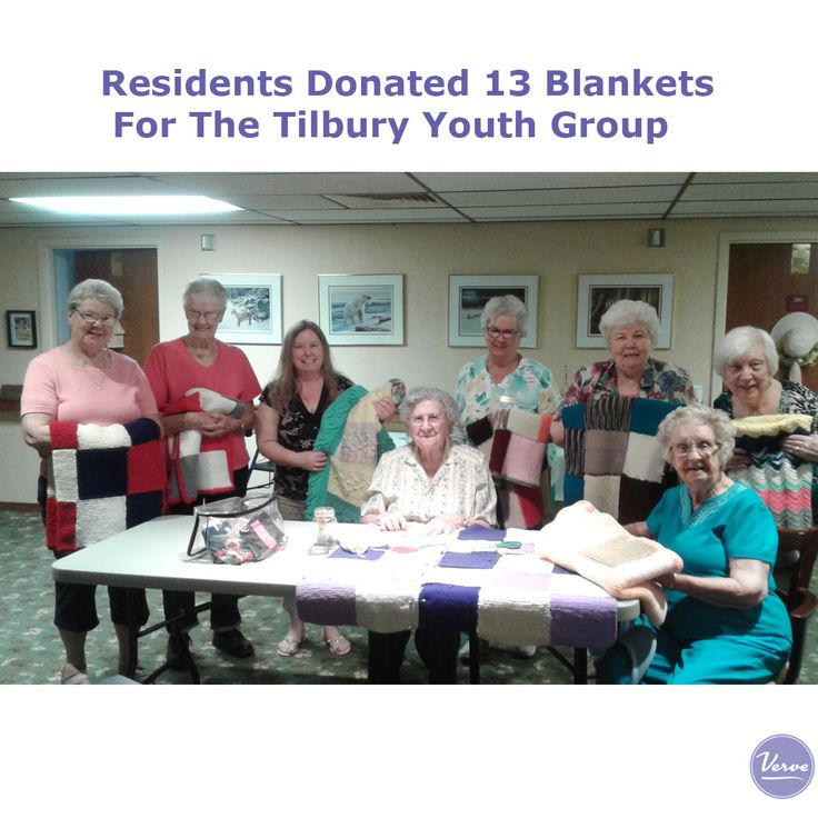 "Hudson Manor's residents donated 13 blankets for the Tilbury Youth Group to create baskets for young adults that are ready to move out on their own. Kim from"" Get Away and Experience Ashley's Place""helps to organize & put together baskets needed for the organization."