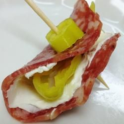 Salami, Cream Cheese, and Pepperoncini Roll-Ups | Great for holiday parties and easy to prepare.I want to eat