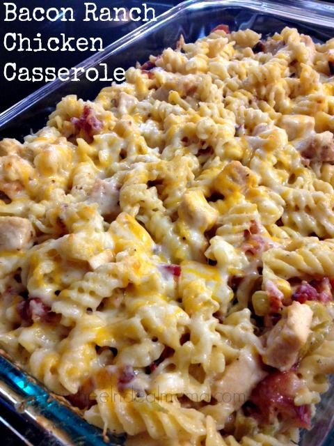 {Bacon Ranch Chicken Casserole} - 2lb chicken, cooked and cubed - 1 box (10oz) Rotini noodles - 7-8 slices of Bacon cooked and chopped up - 3 cloves of garlic, minced - 2 tbsp flour - 1 cup of Milk (I used 2%) - 3/4 cup of Ranch Dressing - 3 tbsp of butter - 2 cups of Mexican Cheese Blend - 1 small can of Green Chile