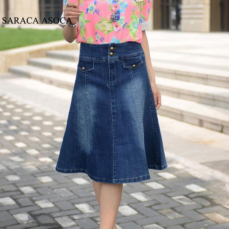 Spring Plus Size S to 6XL Pockets Jeans Pleated Skirts Women Fashion A-line Denim Skirts for Ladies //Price: $45 & FREE Shipping //     #fashionable