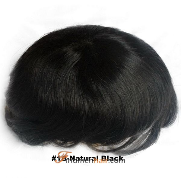 Stock Mens Tou Full Swiss Lace Natural Black Human Hair Piece For Men