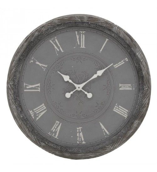 METALLIC_WOODEN WALL CLOCK IN GREY COLOR D63_5X4_5