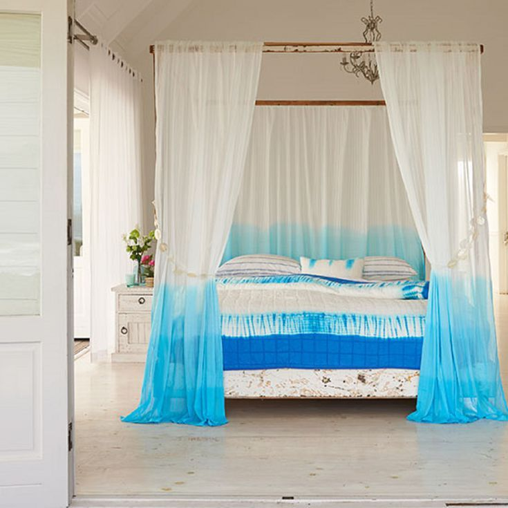 How To Decorate Your Bedroom With A Beach Theme Dip Dye Curtains