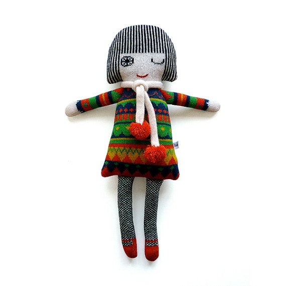 Lamb wool knitted doll