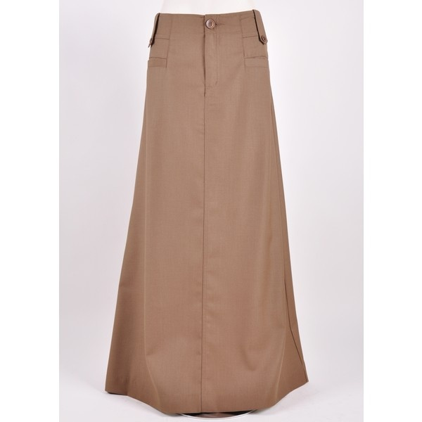 I like how this long khaki skirt goes all the way to the floor.