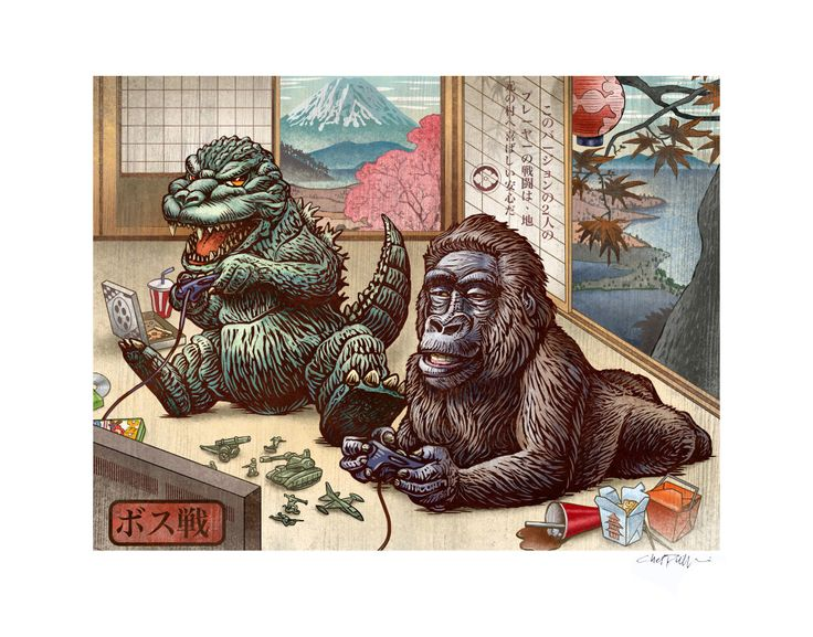 Boss Battle variant 11 x 14 Signed Print -Godzilla King Kong video game Japanese Style by ChetArt on Etsy https://www.etsy.com/listing/192649853/boss-battle-variant-11-x-14-signed-print