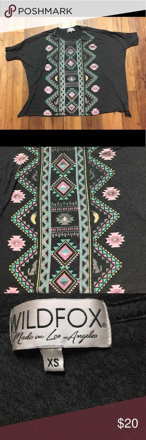 {Wildfox} Grey Slouchy Aztec Tee Size XS, but can fit S. super soft cotton, EUC! Has slots on the side, as pictured in last photo! Wildfox Tops Tees - Short Sleeve