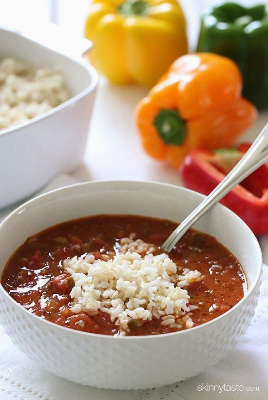 Stuffed pepper soup topped with brown rice. Looks good and can be made with ground turkey or chicken.