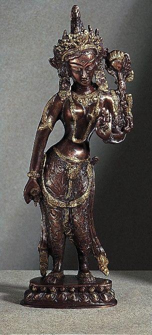 Tibetan Buddhism Copper Brass Bodhisatva Tara Goddess Tantric Meditation Statue