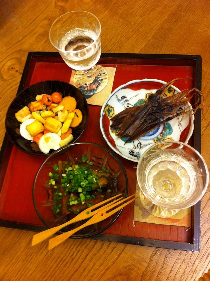 アテいろいろ(ホタルイカ干物ウリの黒糖漬け、おかき)、加賀鳶 6/10/2012