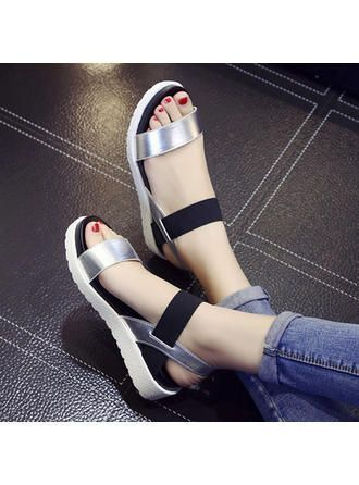 VERYVOGA Frauen Sandalen Flache Schuhe Flascher Absatz PU Gummiband Sandalen. #V
