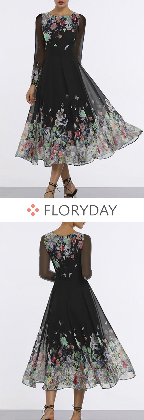 Floral Long Sleeve Midi A-line Dress 17