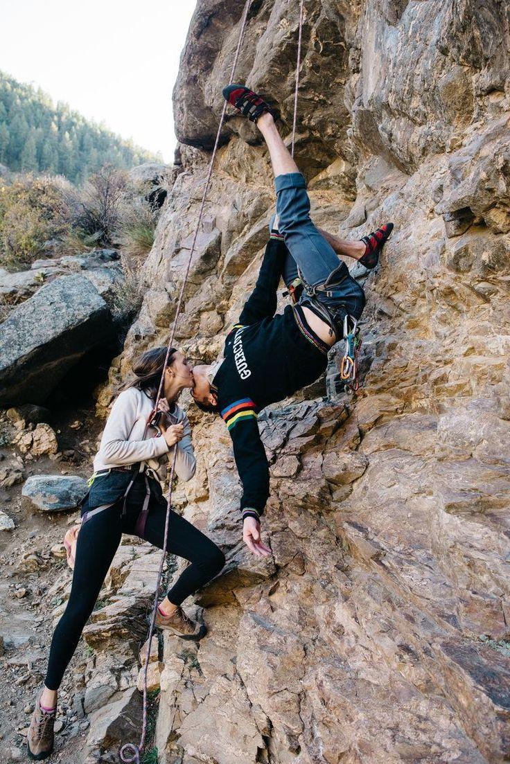 Rock Climbing Couple Adventurous Couple Celebrate