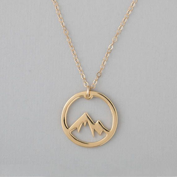 Jewelry & Watches Simple gift Circle Round Snowy Mountain Top Range Necklace Nature silver pendant