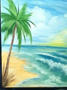 Beach scene Greeting Card by Gloria E Barreto-Rodriguez | Plages ...