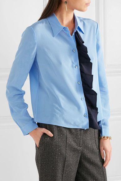 Prada - Ruffled Silk Crepe De Chine Shirt - Light blue - IT44