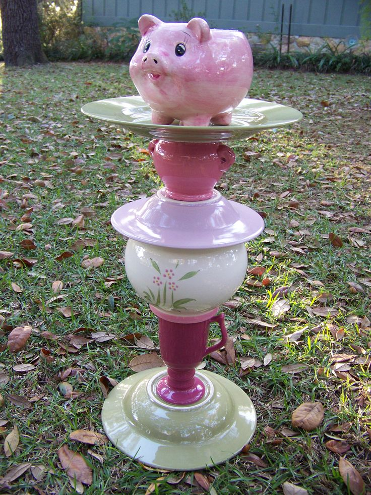 pig ceramic bird feeder and waterer SOLD