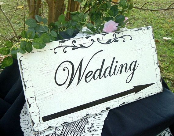Wedding Sign Directional Wedding Shabby Chic 24 x 12 by tcart2010, $49.00