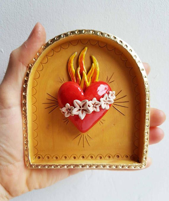 Flaming heart shrine-Sacred heart-Religious Kitsch-Ceramic Wall art