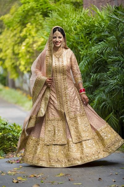 light pink, salmon , gold, gota patti, sikh bride, bridal sharara, anarkali, layered, jacket, front slit