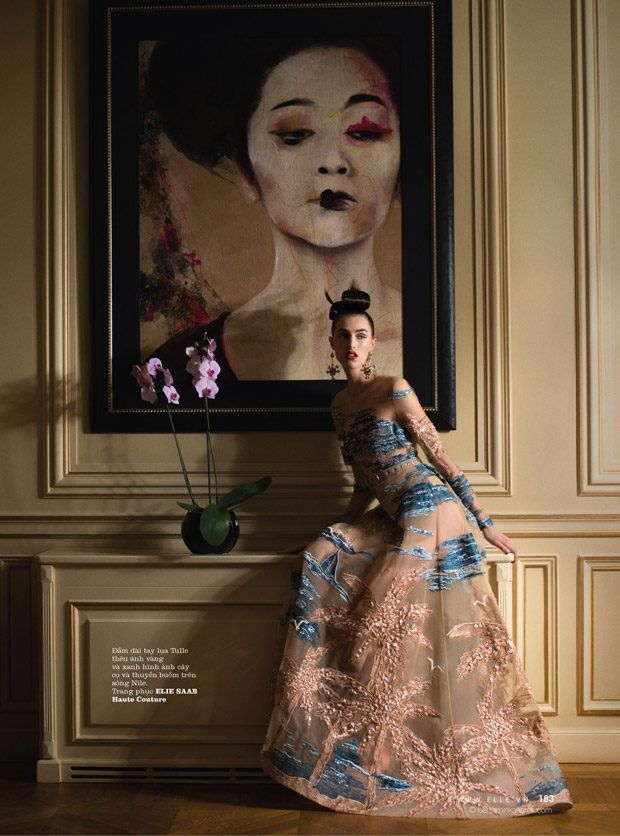 India Ruiterman in Elie Saab Haute Couture photographed by Benjamin Kanarek for Elle Vietnam, April 2017.