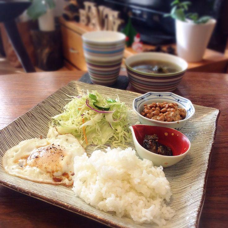 キラ姫's dish photo 目玉焼きで簡単和食ワンプレート 2016 11 12 | http://snapdish.co #SnapDish #サラダ #保存食/常備菜 #味付き卵 #納豆 #もずく