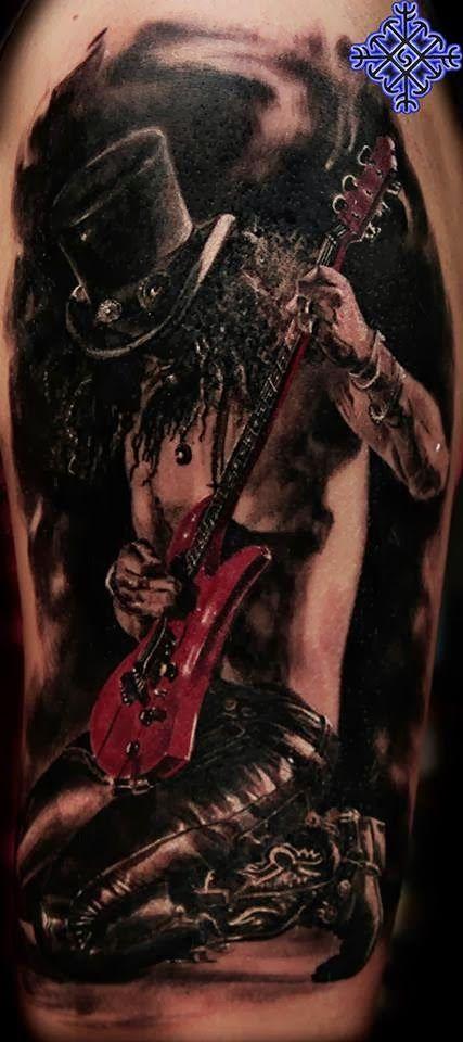 Awesome #Slash Colour Portrait Tattoo by Iwan Yug