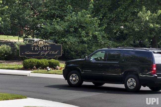 US President Donald J. Trump's motorcade arrives at the Trump National Golf Club in Sterling, Virginia,on June 25, 2017. President Trump…
