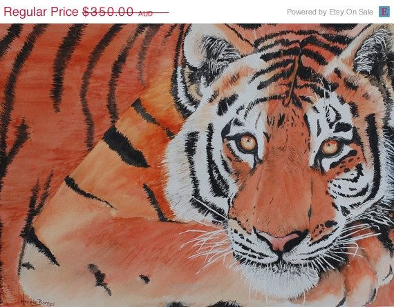 """ON SALE 20% OFF Original Watercolour painting, Wildlife Tiger painting , Animal Art, Home Decor 20"""" x 15"""" Animal Painting, Large painting, T"""