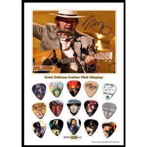Printed Picks Company Neil Young New Gold Edition Guitar Pick Display with 15 Guitar Picks. Neil Young New Gold Edition Guitar Pick Display With 15 Guitar Picks. Maximum memory. Premium quality, provides natural feel and warm, fat tone. Item dimensions: width: 100, height: 100. Minimum wear. Warranty Certificate: None.