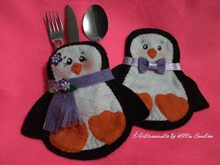 Casal de pinguins porta talheres by Litta Santos Em feltro, recortado e costurado a mão