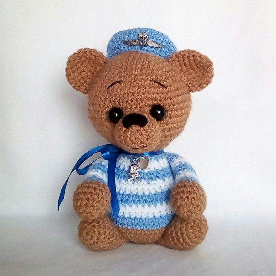 Crochet Brown Bear Sailor Crochet Toy Teddy Bear Toy For Boy And For Men Crochet Bear Bear Crafts Crochet Toys