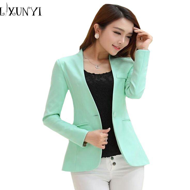 2017 Spring Autumn Long sleeve Shrug Women Blazer Candy Color ladies blazer jacket Suit Jackets women blazers and jackets green #Affiliate