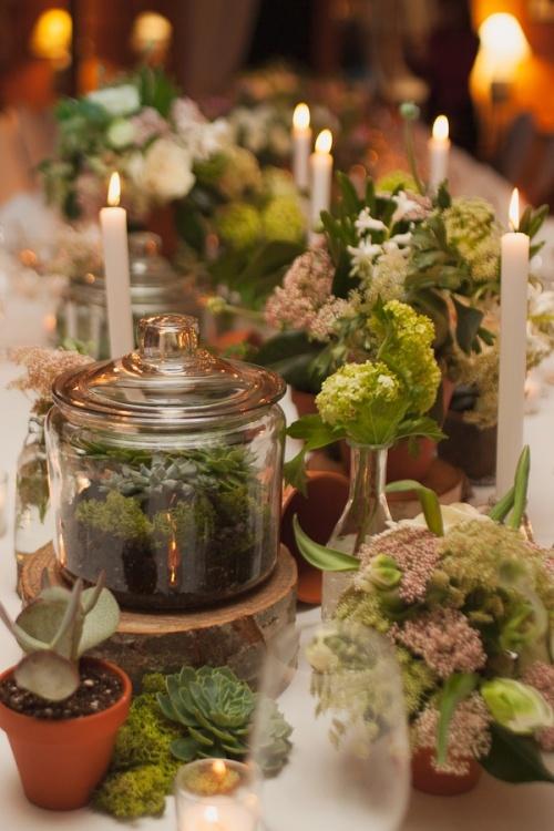 Wonderful Gorgeous Flower Table Setting. Terrarium ...